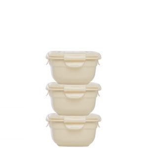 Stapelbare vershouddoosjes 260 ml beige set 3-delig