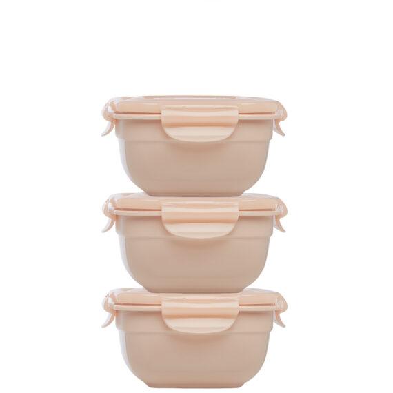 Stapelbare vershouddozen 520 ml oudroze set 3-delig
