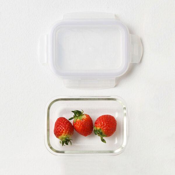 Glazen ovenschaaltjes met deksel 380 ml set 4-delig